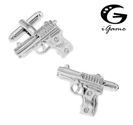 Gemelos de pistola iGame, Envío Gratis, cobre 007, diseño de pistola, el mejor regalo para hombres, gemelos al por mayor y al por menor