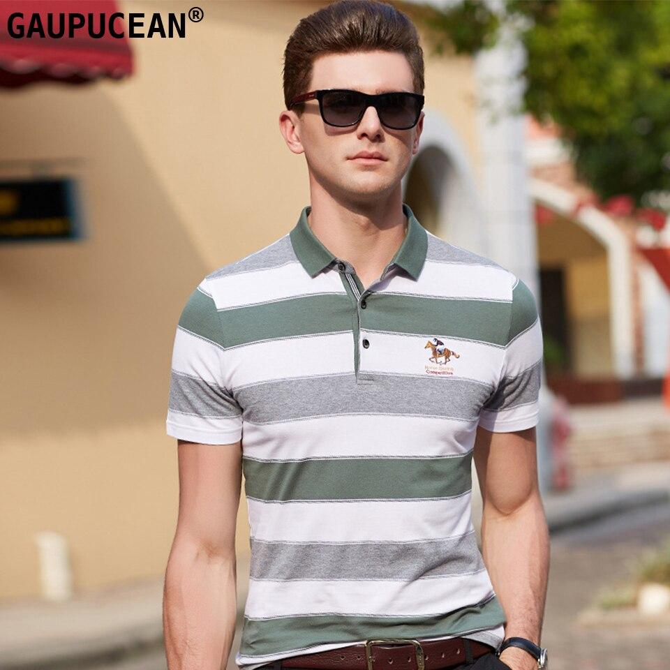 Camisa polo masculina manga curta 95% algodão 5% elastano colorfast respirável anti-pilling verde qualidade moda listra homem polo-camisa