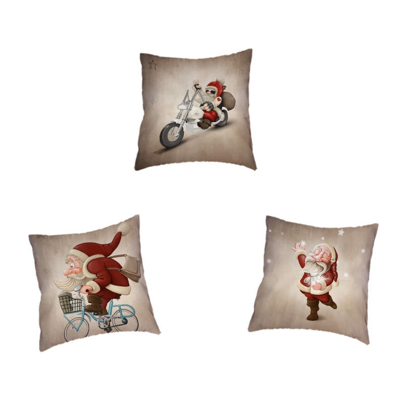 Décorations de noël pour la maison housse de coussin mignon et intéressant Santa jeter taie doreiller décoration siège de voiture bureau 45X45Cm