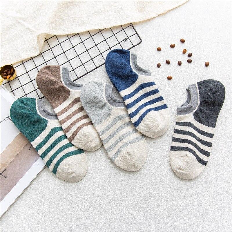 men socks 5 pairs cotton short invisible socks summer striped cotton breathable style high quality men's socks ankle socks