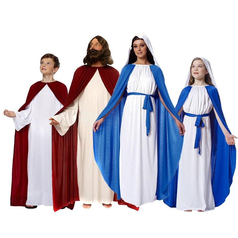 جديد هالوين حزب تأثيري زي الأطفال والكبار الرومانية اليونانية زي يسوع والعذراء ماري زي