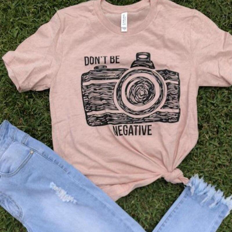 Nueva camiseta gráfica para mujer, camisetas con estampado Dont Be Negative, camisetas de manga corta, camiseta moderna, camiseta Harajuku