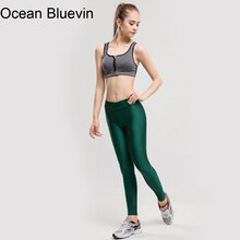 Ocean bluevin 브랜드 레깅스 솔리드 형광 gandy 그린 컬러 피트 니스 레깅스 고탄성 레깅스 레깅스 바지 팬츠