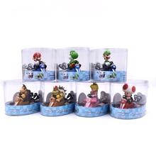 Super Mario Bros figurines 13Cm japon Anime Luigi dinosaures âne Kong Bowser Kart retirer voiture Pvc Figma enfants jouets chauds pour garçons