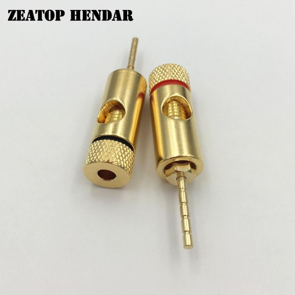 20 piezas PIN Plug 24 K oro latón altavoz Pin 2mm Banana macho enchufe recto altavoz cable tornillo bloqueo conector