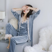 Kış sıcak Pijama Seti Kadın Pijama Takım Elbise Kadife Seksi Pembe Gecelik Pijama Kadın Pijama Uzun Pantolon Seti Bornoz Üç parça Takım Elbise
