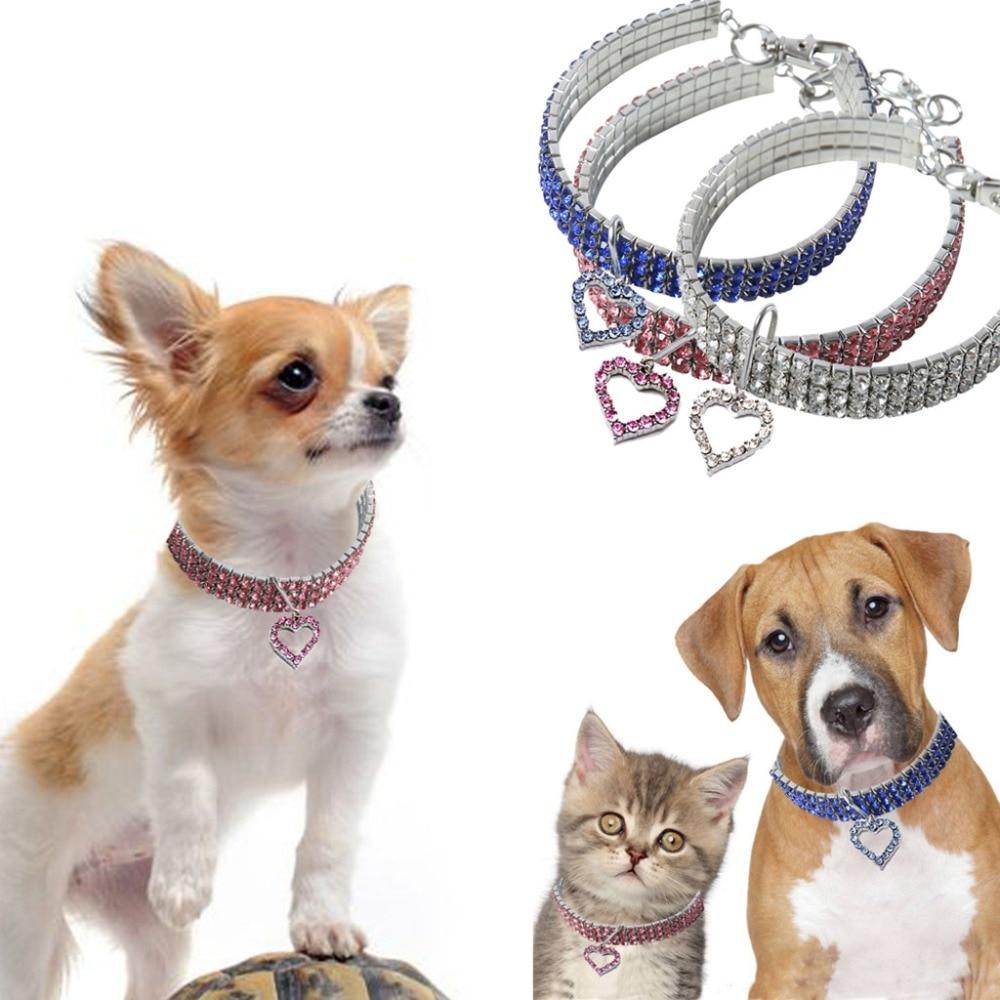 Cute Mini Pet Dog Bling Rhinestone Chocker Collars Fancy Dog Necklace leash for dog pet accessories led dog collar **D