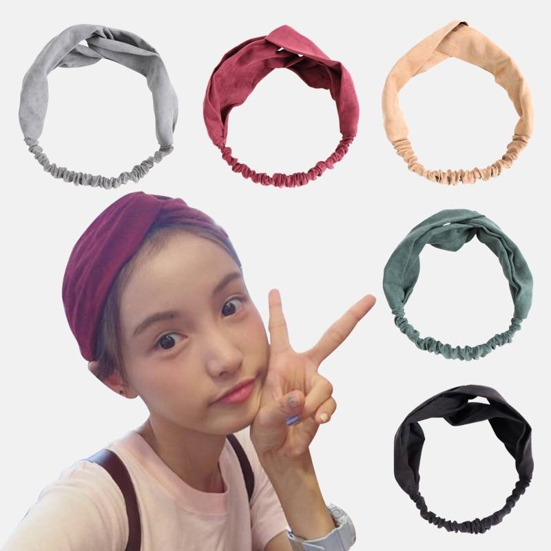 Women Hairband Solid Color Headband Suede Elastic Cross Knot Classic Headwear For Women Girls Head Wrap