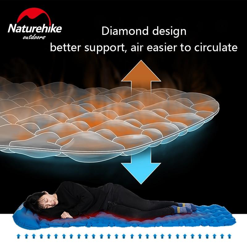 Naturehike Outdoor Camping Mat with Pillow Air Bag Sleeping Inflatable Pad Hiking Single Moisture-proof Mattress