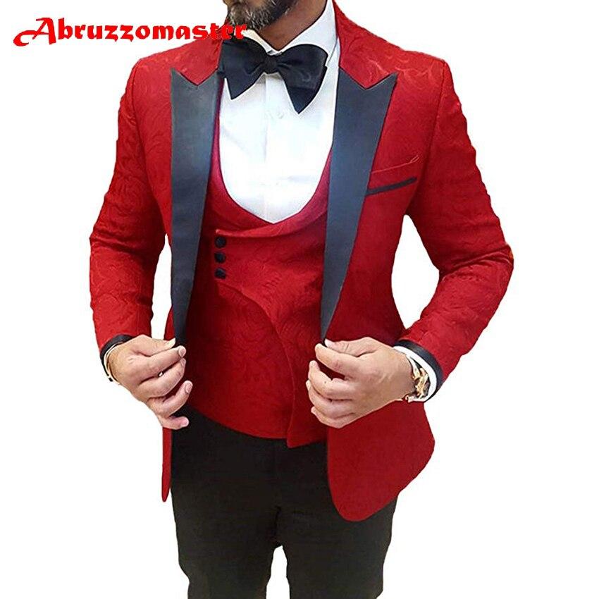 Abruzzomester بدلة مطبوعة بالزهور حمراء مصنوعة حسب الطلب للرجال بدلة مطبوعة حمراء بدلة عريس 3 قطع بدلة عشاء Double B