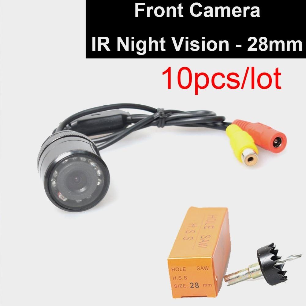 10 unids/lote coche Auto montaje empotrado carcasa parachoques delantero cámara de visión delantera 28mm agujero Sierra perforación IR visión nocturna