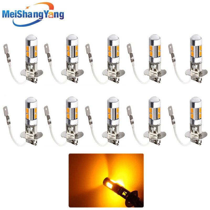 10 шт. Янтарный H3 светодиодный светильник замена лампы для Противотуманные фары Дневные Фары поворотного тормоза светильник s авто светодио...