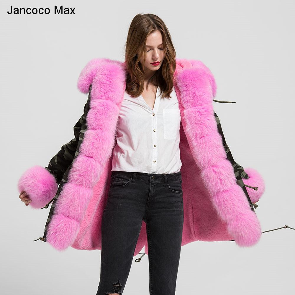 Veste dhiver pour femmes, manteau de Camouflage épais et chaud à col en vraie fourrure de renard, S1739