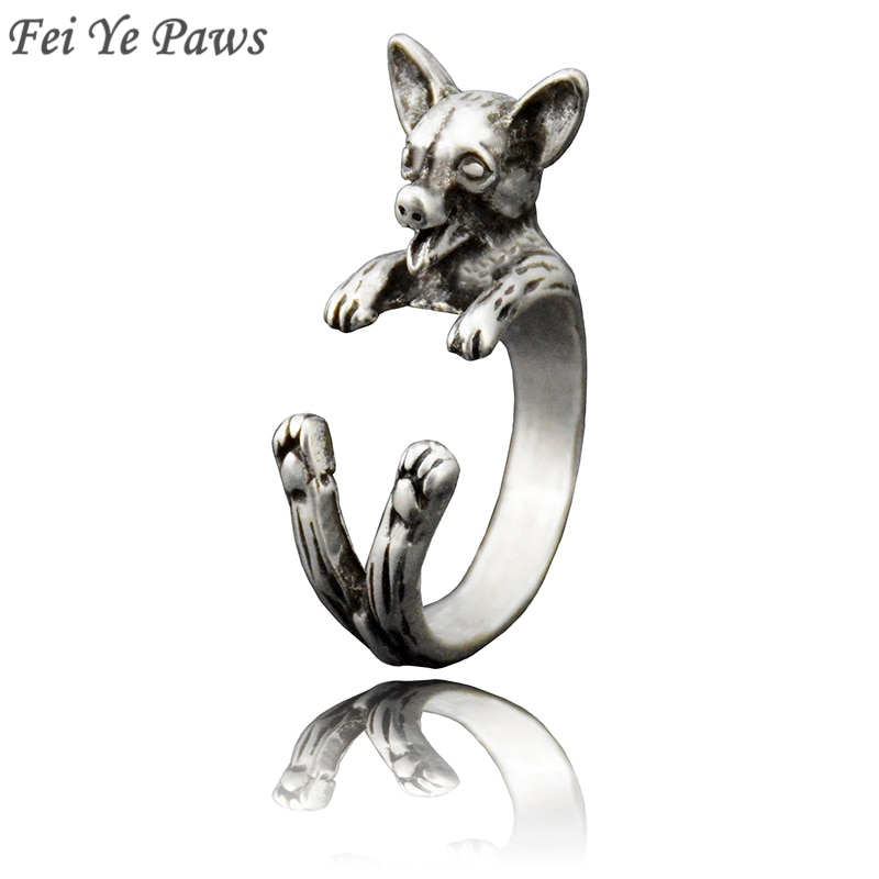 Fei Ye Paws Punk Vintage 3D Chihuahua Wrap Ring Fashion Hippie Chihuahua Dog Ring Boho Chic Animal Rings For Women Men Jewelry