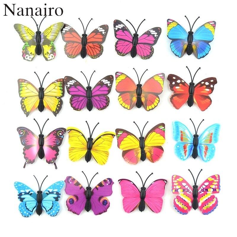 12 Uds DIY pegatinas 3D multicolores de PVC mariposas para nevera para pared para niños habitaciones de bebé cocina decoración del hogar adhesivo para pared