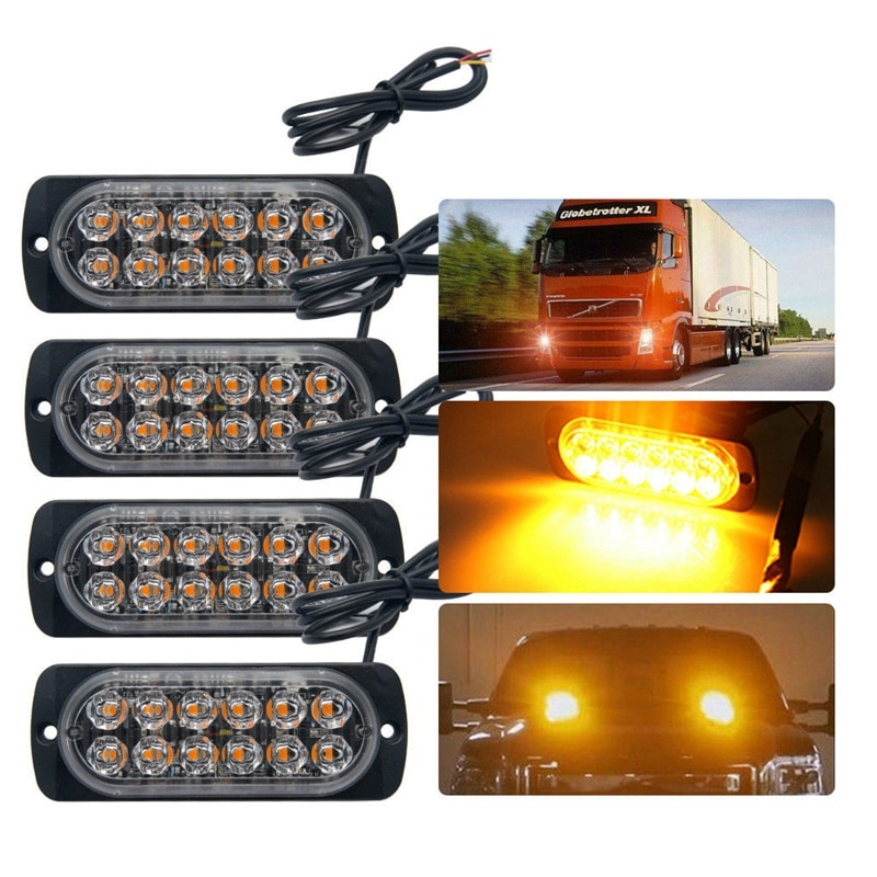 4 Pcs 12-Led Amber Flash Flashing Recovery Strobe Car Emergency Signal Led Orange Grill Breakdown Light Fog Light Beacon