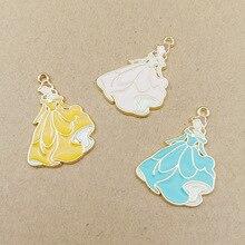 10pcs 20x28mm pretty girl charm enamel charm for jewelry making fashion charm earring pendant dresses women charms