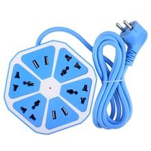 Multiprise universelle 4 prises de courant   Avec 4 ports USB, protecteur de surtension, tour prise USB, prise électrique, cordon dextension 1.7m avec prise ue