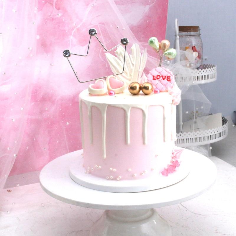 Novo metal prata ouro amor coroa lua com diamante feliz aniversário bolo topper decoração para festa de aniversário adorável presentes