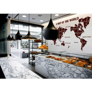 World Map Wall Stickers Large New Design Coffee Shop Pattern Map Wall Decal Vinyl Decals World Map Poster Sticker