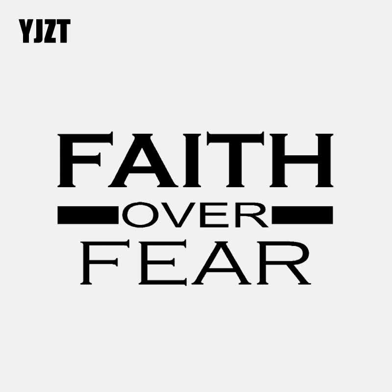 YJZT 13,3 CM * 7,6 CM FAITH OVER FEAR vinilo calcomanía cristiano Dios Jesús coche pegatina negro/plata C3-1400