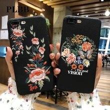 Чехол PLBB с вышивкой, бабочкой, Пчелкой, цветком, рыбой, цветочным рисунком для iPhone X, 8, 7, 6, 6s Plus, 5 5S SE, Ультратонкий мягкий ударопрочный чехол из...