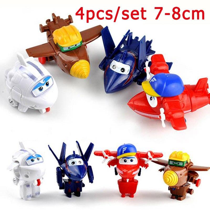 4/5 unids/set Mini Super ala de mosca Hero aviones de juguetes transformación Jet animación acción figura PVC juguetes regalo de cumpleaños