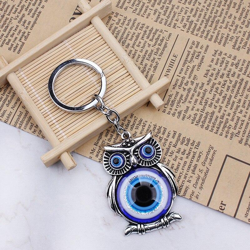 Модный синий злой глаз Сова счастливый Шарм защита кисточка вешалка кристаллы автомобиль Фэн брелок Shui 11,5 см