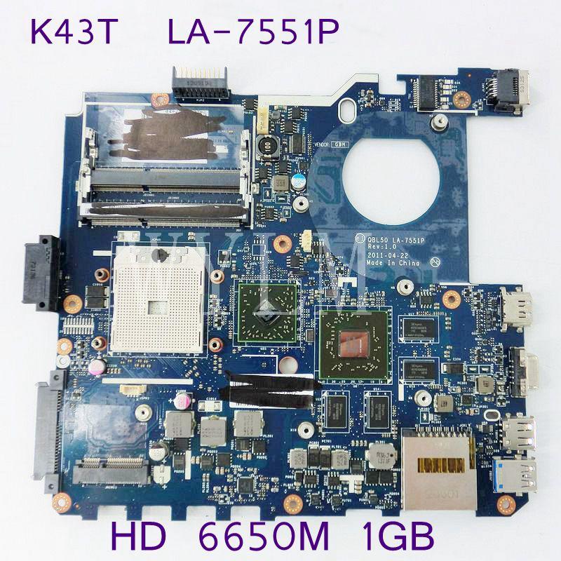 K43T QBL50 LA-7551P HD6650M 1GB Motherboard For ASUS K43T K43TA K43TK X43T Laptop Mainboard  REV 1.0 100% Tested Working Well