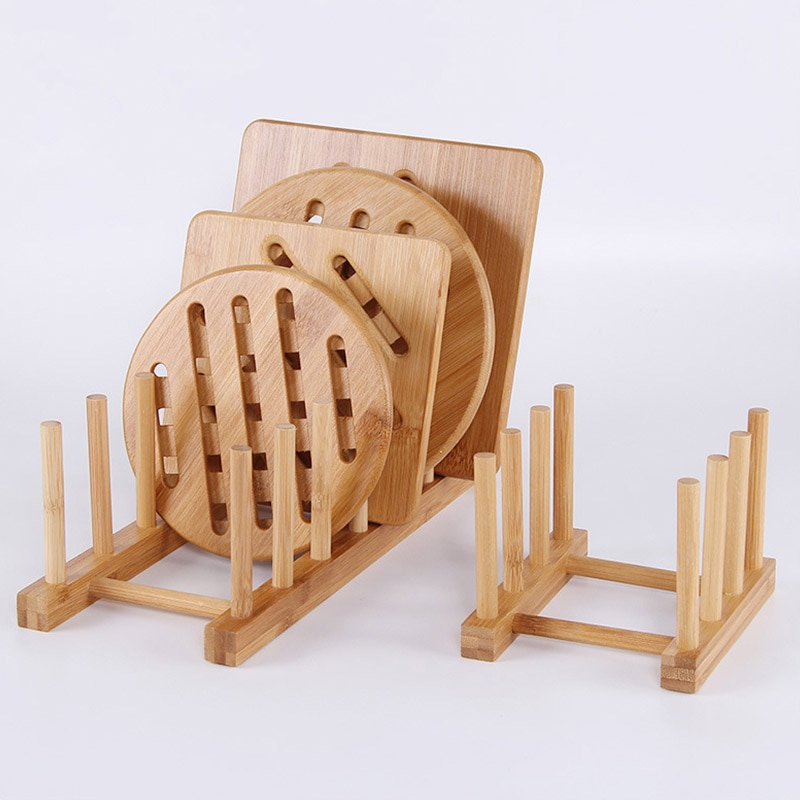 Estante de platos de bambú soporte de almacenamiento de escurridor de drenaje para organizador de armario de cocina para placa de plato tapa de olla