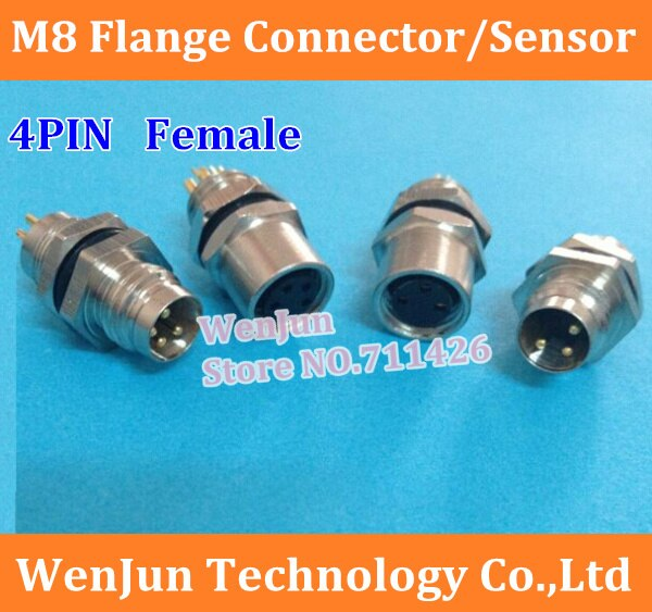 50 Uds M8 brida/enchufe 4 Pin 4 núcleo conector hembra, sensor de 4 pines tipo agujero/panel de pared de alta calidad