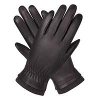 genuine leather gloves man autumn winter plus velvet keep warm driving windproof waterproof sheepskin gloves male m18004nc 9