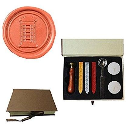 Mdlg vintage cabina Custom Picture logo invitación de boda Cera sello Palos Spoon Gift Box Set Kit