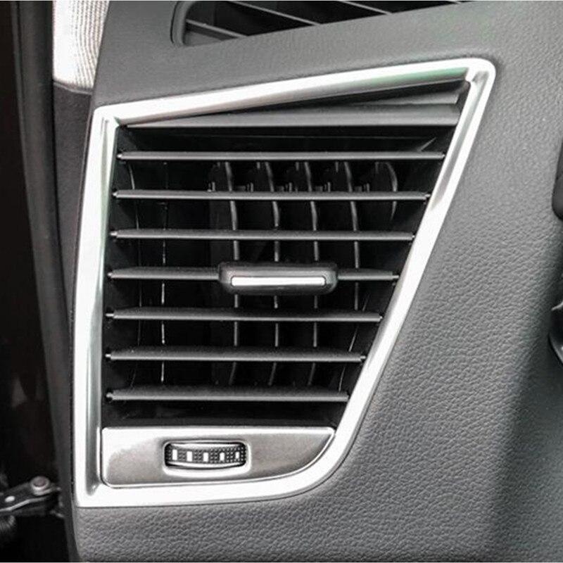 Consola central Tanto Do Lado de Saída de Ar Condicionado Lantejoulas Decoração Tampa Da Guarnição Q5 2Pcs Para Audi 2009-2016 Aço Inoxidável