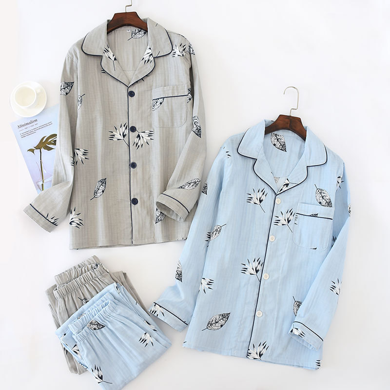 Conjunto de Pijama de gasa de doble capa de algodón 100% para hombre, Conjunto de Pijama fino informal holgado, pantalones de manga larga, ropa de dormir, conjunto de Pijama para hombre