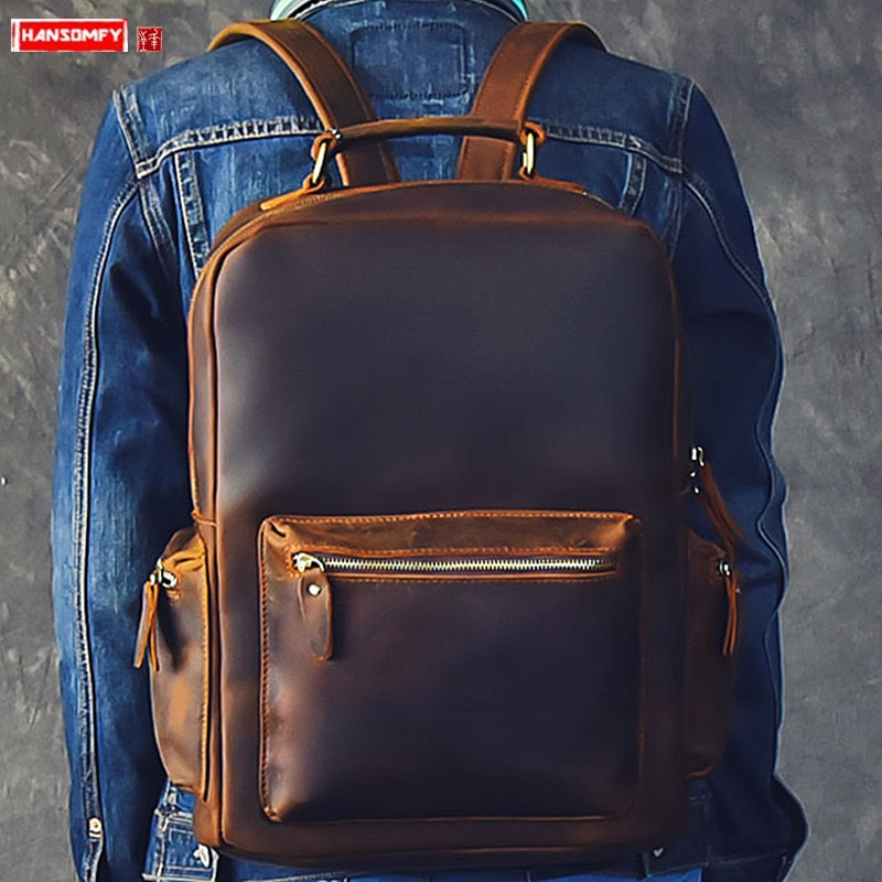 Mochila para hombre de gran capacidad, mochila para ordenador portátil, bolso de hombro para ordenador, mochilas de viaje Retro para hombre, mochila Original de piel de Caballo loco para hombre