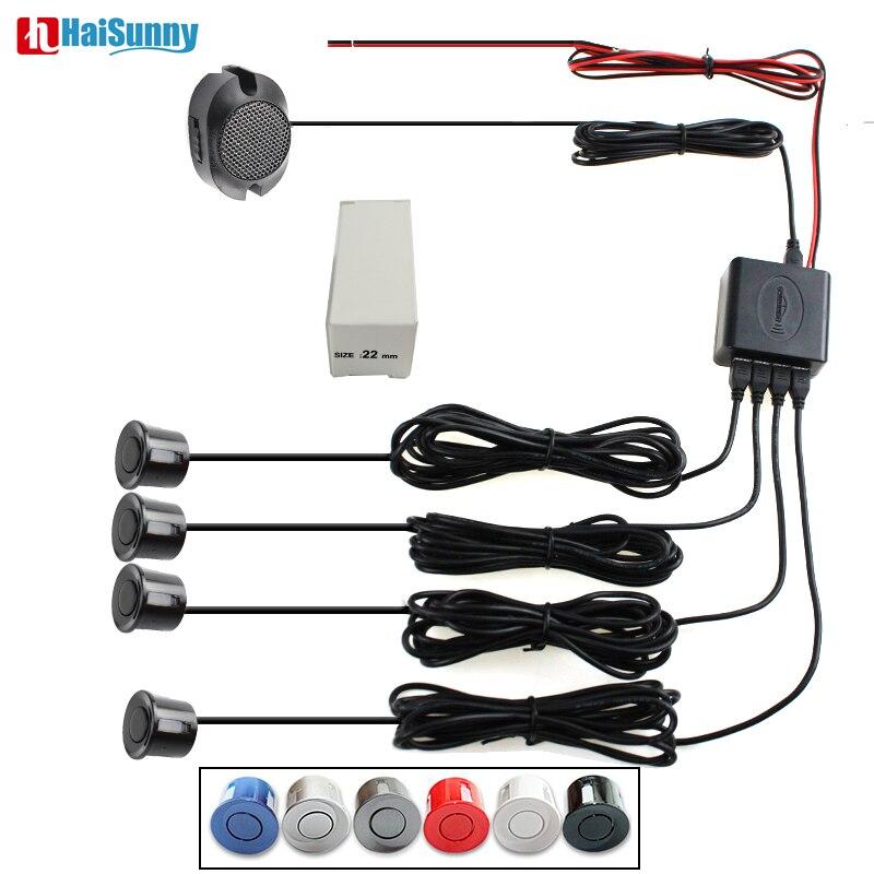 HaiSunny Auto Einparkhilfe Sensor Summer Reverse Radar parktronic Detektor System Reverse Ton Alarm, 4 Sensoren 6 Farbe