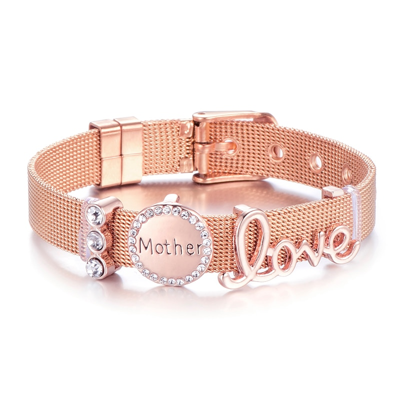 Высококачественный сетчатый Браслет из нержавеющей стали, брендовый браслет Love Mother Crystal, браслет для женщины, жена мать, подарок на день