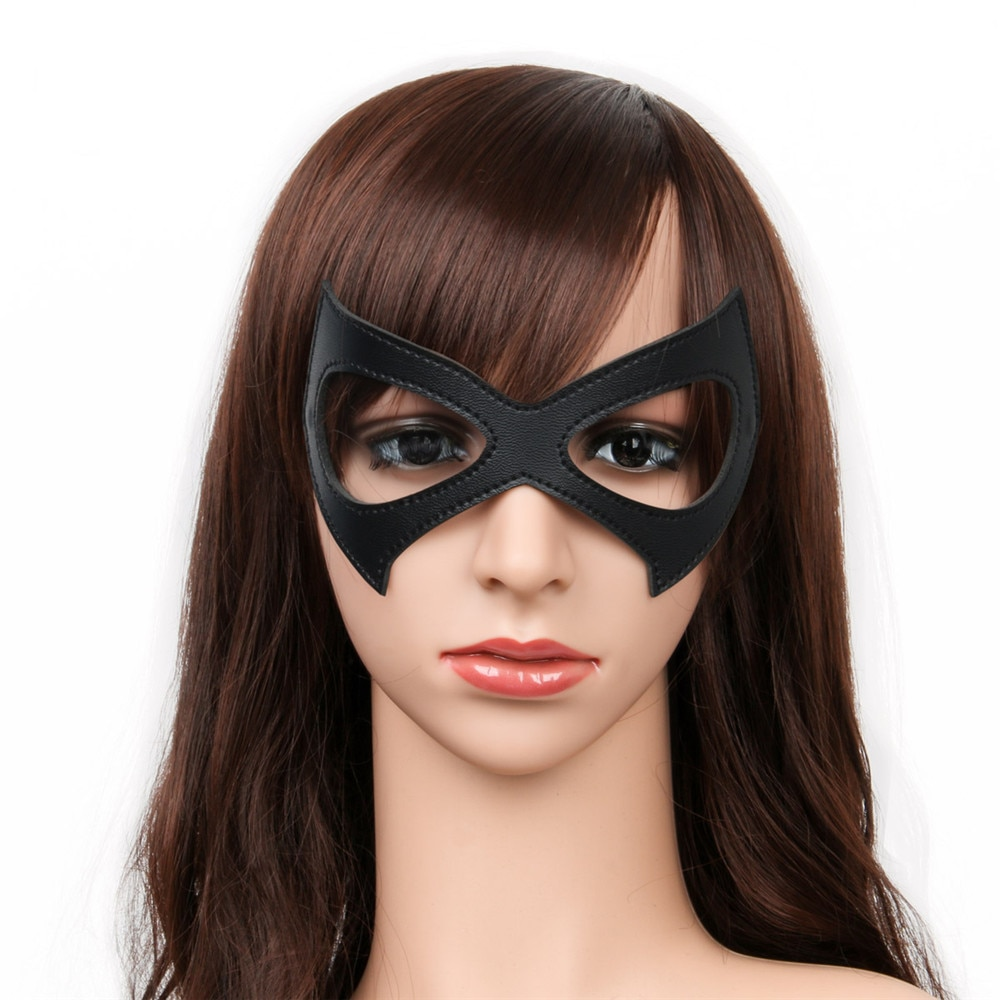 Máscaras de Harley Quinn, disfraz negro rojo de cuero, máscara de ojo de Batman Harley Quinn, máscara de ojo Sexy para Cosplay de Halloween