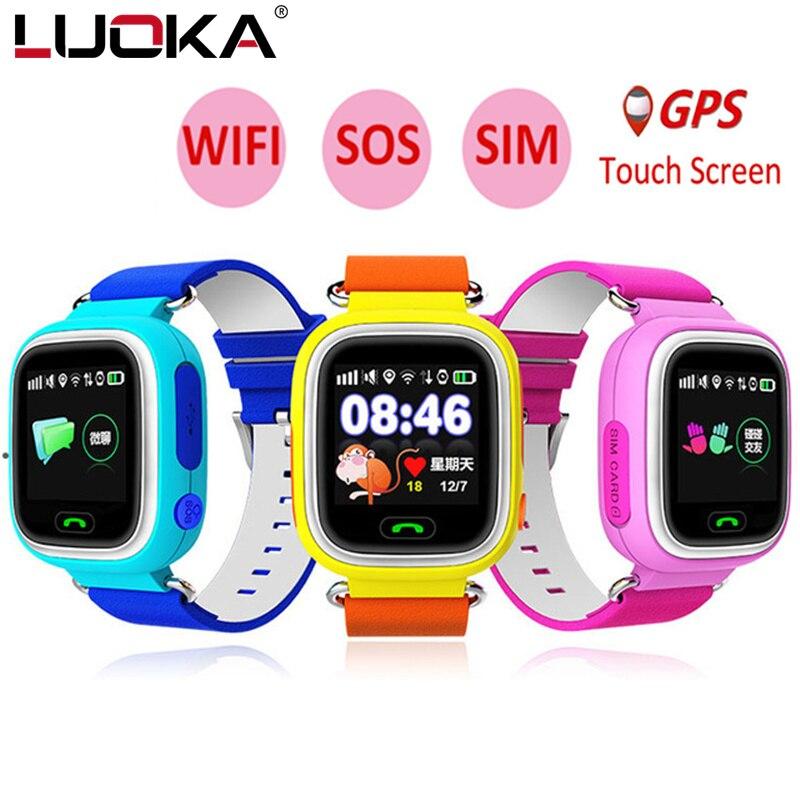 LUOKA Q90 teléfono GPS posicionamiento de los niños de la moda reloj de Color de 1,22 pulgadas Touch pantalla con WiFi SOS reloj inteligente bebé PK Q80 Q50 Q60