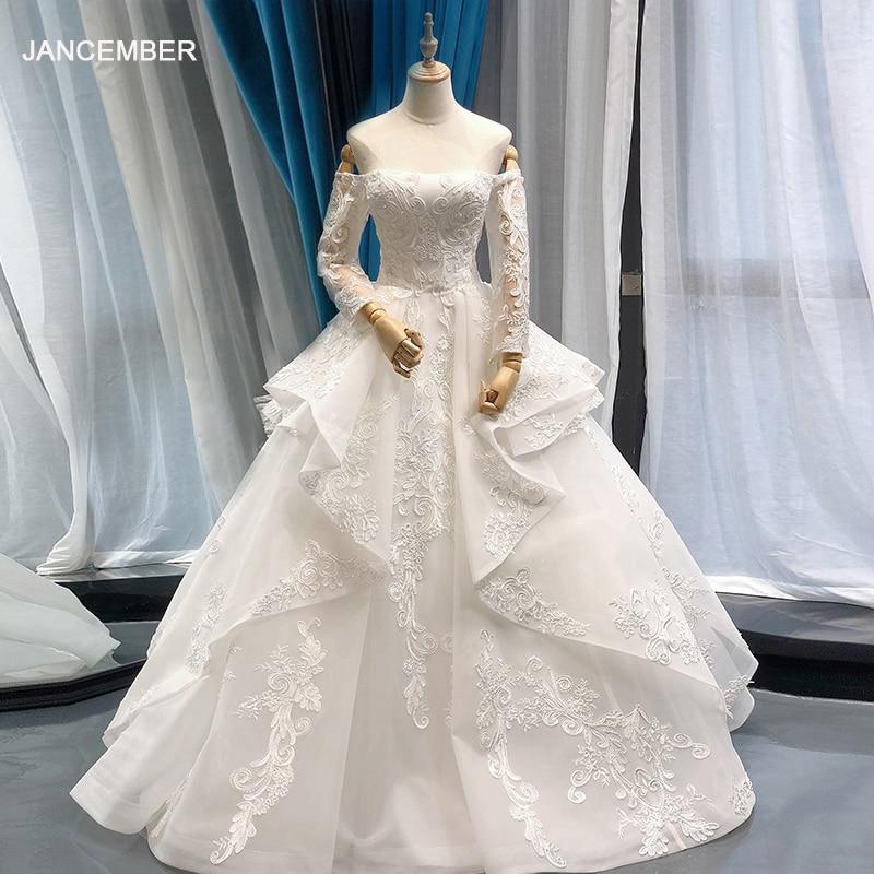 J66652 jancember فستان الزفاف طويل الأكمام الدانتيل قبالة الكتف الطابق طول يزين فستان زفاف أنيق رداء دي mariee 2019