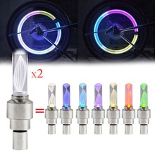 2 pièces vélo voiture moto roue pneu Valve bouchon Flash lumière LED lampe à rayons JULY18