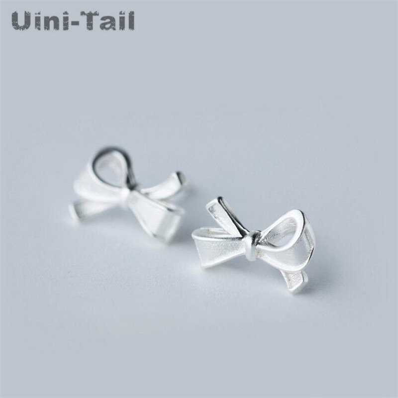 Uini-Tail hot new 925 sterling silver bow earrings temperament Korea sweet fashion simple personality versatile fresh