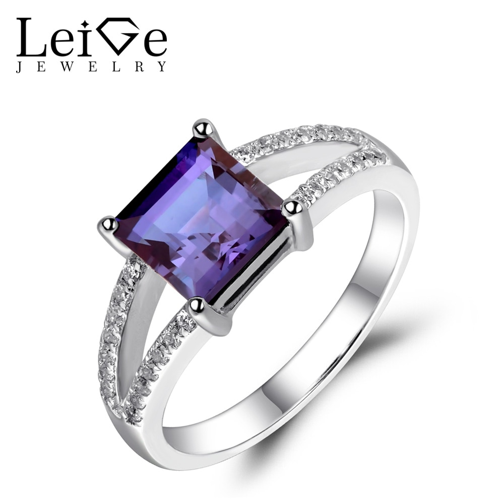 Anillos de corte cuadrado de joyería Leige para mujer, anillos de compromiso de boda con vástago dividido, joyería de piedras preciosas de Plata de Ley 925
