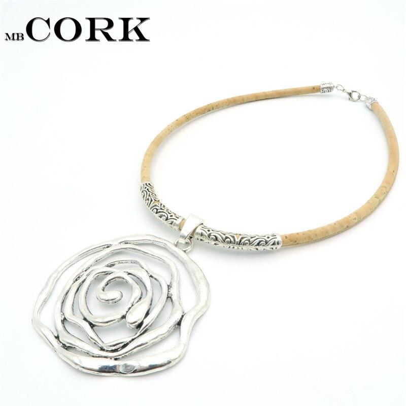 Natural Cork big rose necklace sliver flower pendent women handmade natural original jewelry N-87
