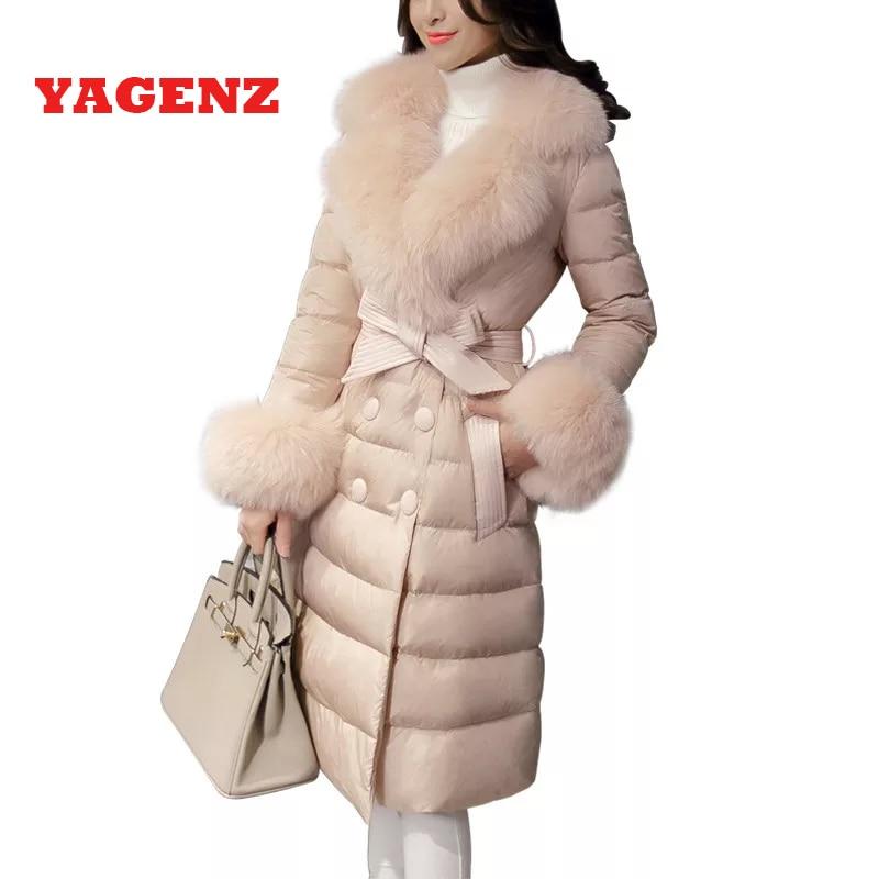 2019 de pato Branco para baixo 95% de Alta qualidade Fina Para Baixo roupas casaco Novo Coréia Ms jaqueta de Inverno Quente gola De Pele Elegante para baixo Mulheres Casaco