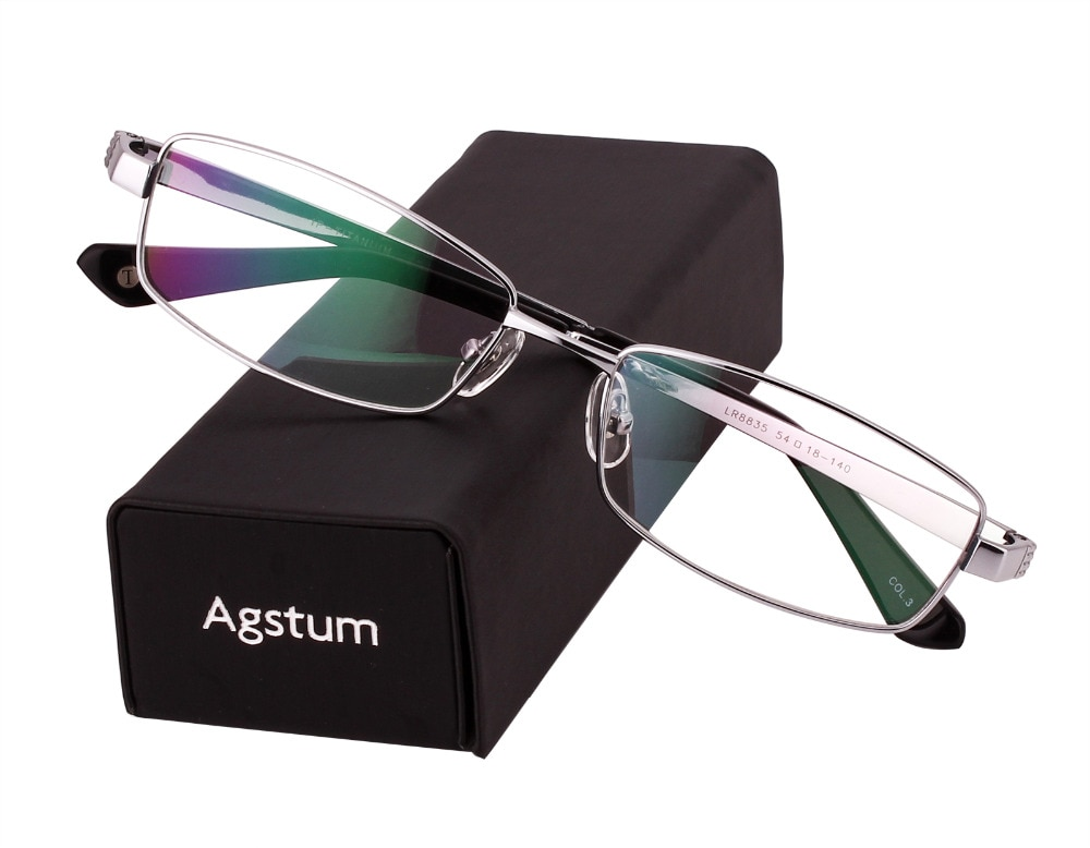 Agstum 100% التيتانيوم النقي النظارات الرجال كامل حافة البصرية النظارات إطار نظارات rx 8835