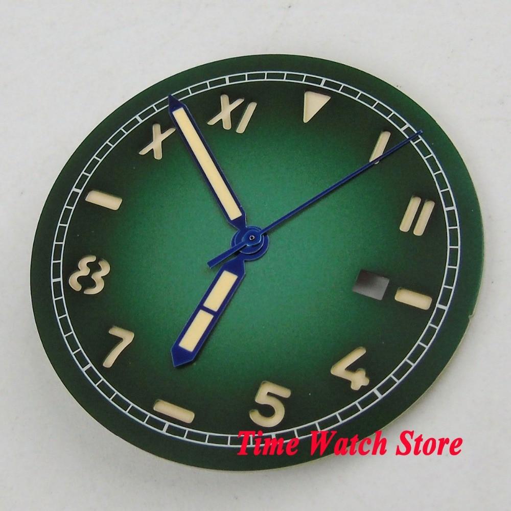 36,1mm verde logotipo abertura para fecha California esfera del reloj fit MIYOTA 8215 821A Mingzhu 2813 movimiento Dial + D127