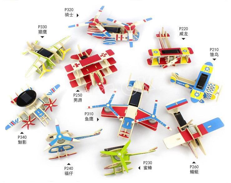 Nouveau mode 3D Puzzles puzzle en bois énergie solaire alimenté jouets éducatifs pour le meilleur bois puzzle bloc de construction cadeau