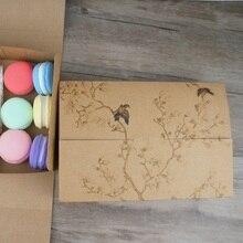 21,5*14,5*5 cm 10 stücke Kraft papier brid baum Macaron Schokolade cookie Papier Box Weihnachten Geburtstag Party geschenke Verpackung